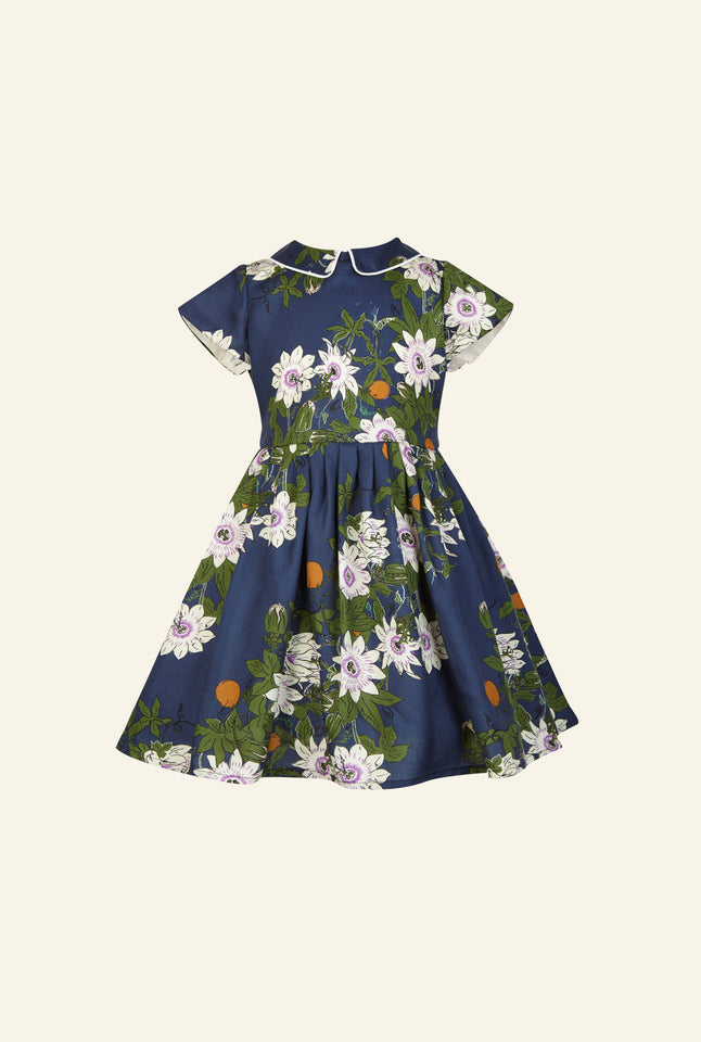 Penny - Navy Passion Flower Children's Dress | Organic Cotton
