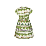 Penny - Tropical Walking Zoo Print Summer Party Play Dress for Girls