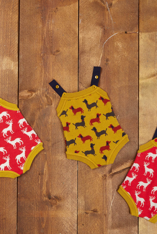 Knitted Romper - Mustard Sausage Dog - Palava