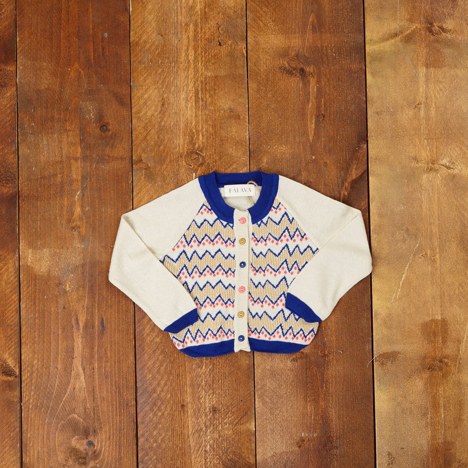 Children's Cardigan - Cream Zig Zag - Palava