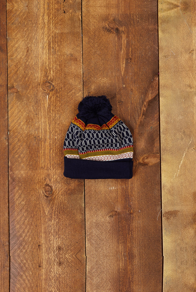 Children's Bobble Hat - Blue Geometric Knit - Palava