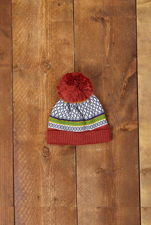 Children's Bobble Hat - Red Geometric Knit - Palava