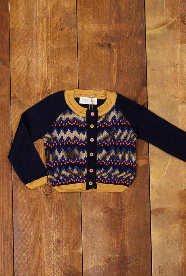 Children's Cardigan - Navy Zig Zag - Palava