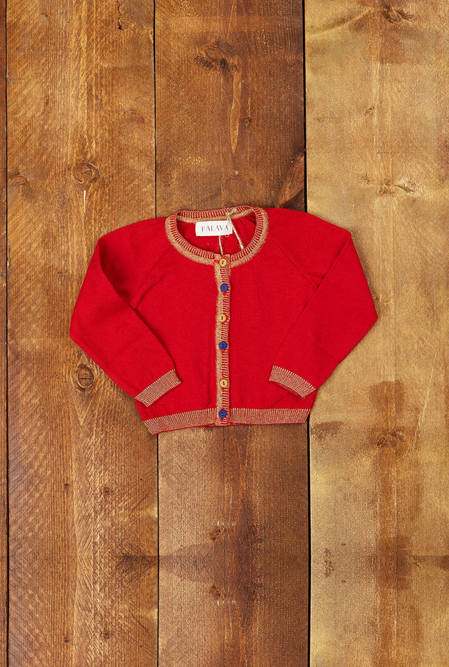 Children's Classic Cardigan - Sparkly Red - Palava