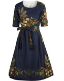 Sample Sale - Size 10 - Elsie - Navy Floral Feather Dress