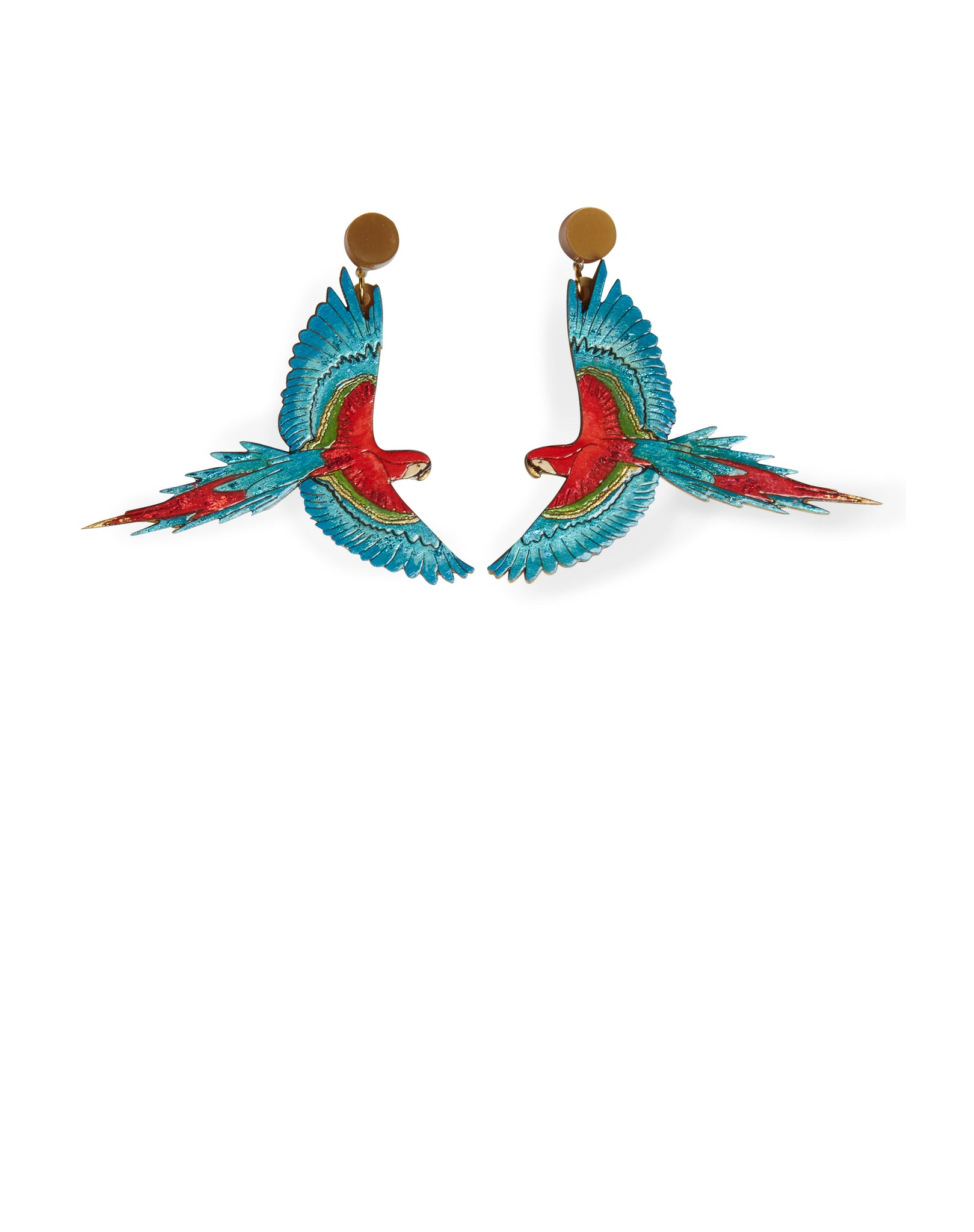 Parrot Laser-cut Acrylic Hand-painted British-made Retro Earrings