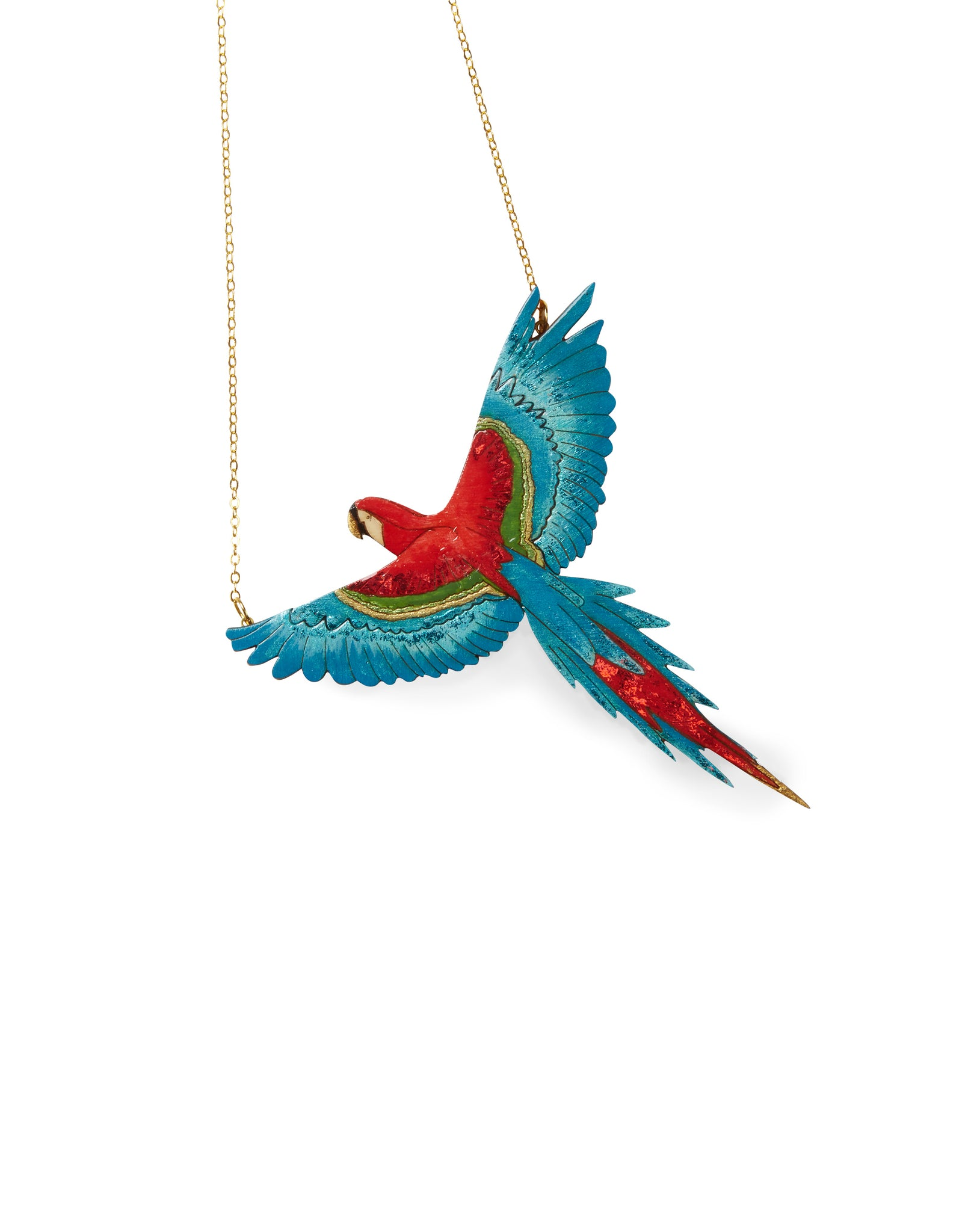 Parrot Laser-cut Acrylic Hand-painted British-made Retro Necklace