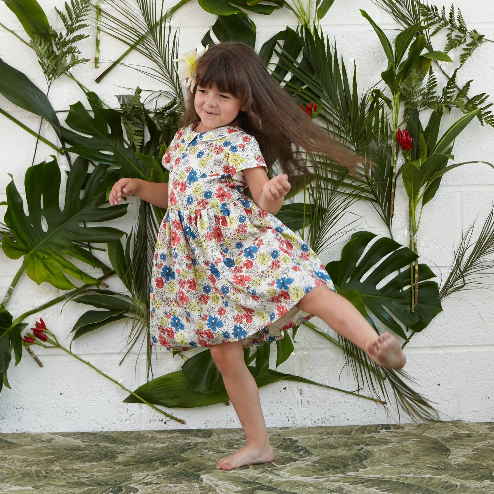 Penny - Ivory Hibiscus Heaven Print Summer Party Play Dress for Girls