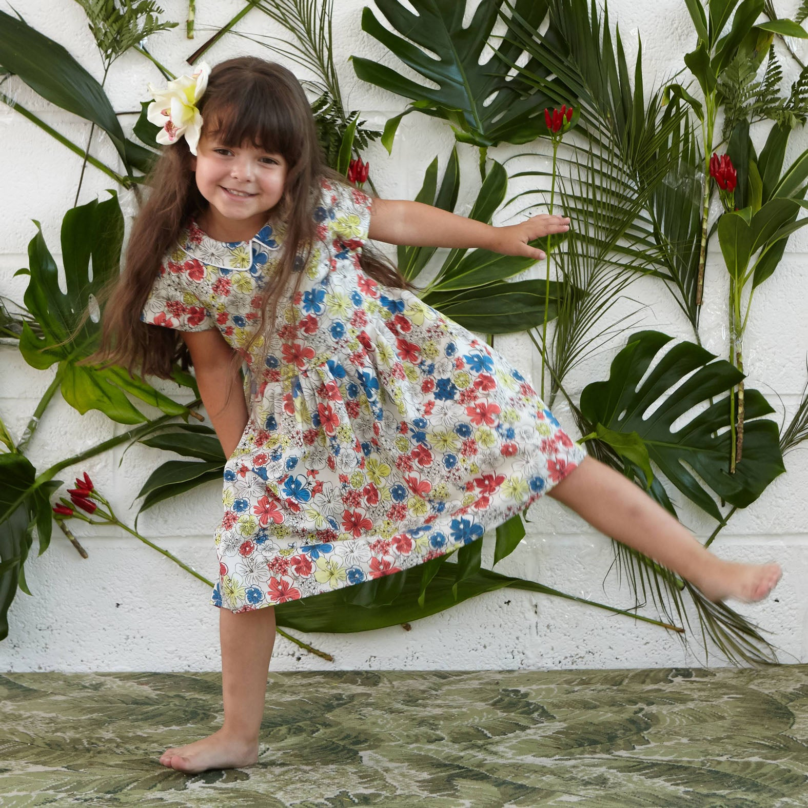 Penny - Ivory Hibiscus Heaven Print Floral Organic Cotton Dress for Girls