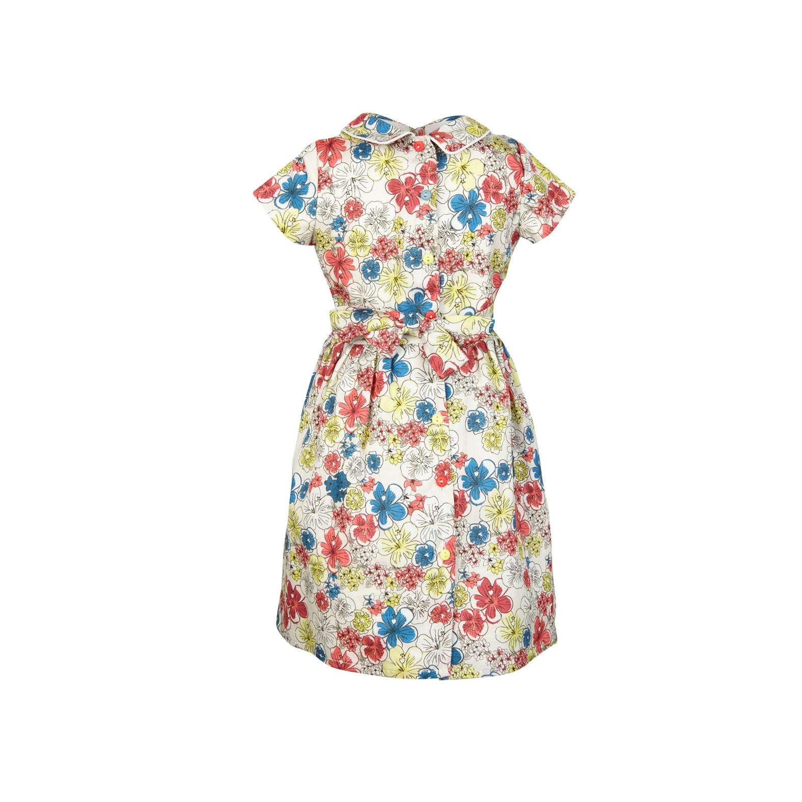 Penny - Ivory Hibiscus Heaven Print Floral Summer Party Dress for Girls