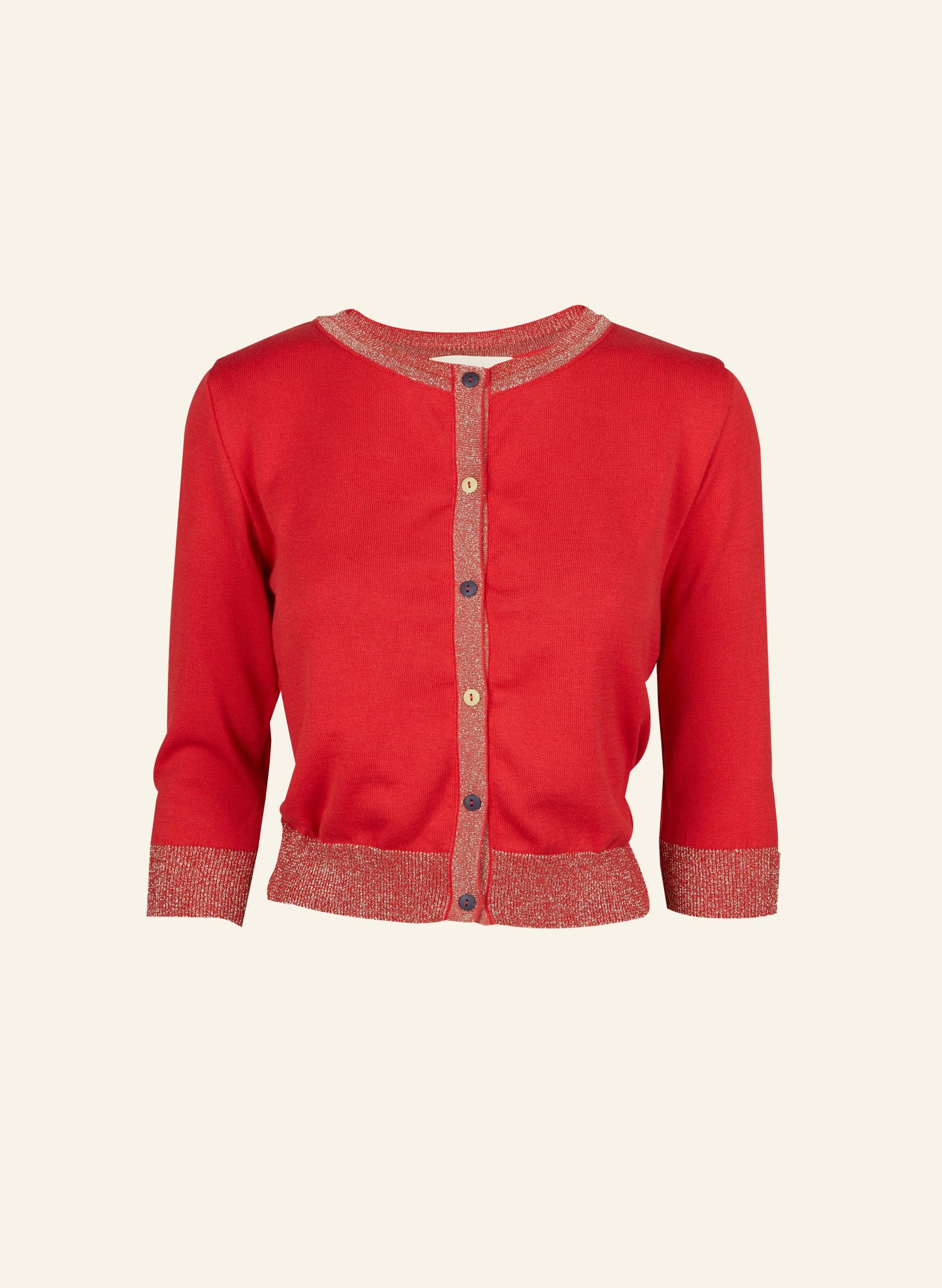 Vera - Red Sparkly - Organic Cotton Cardigan