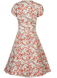 Rita - Red Pomegranate Print Vintage-style Plus Size Dress for Women