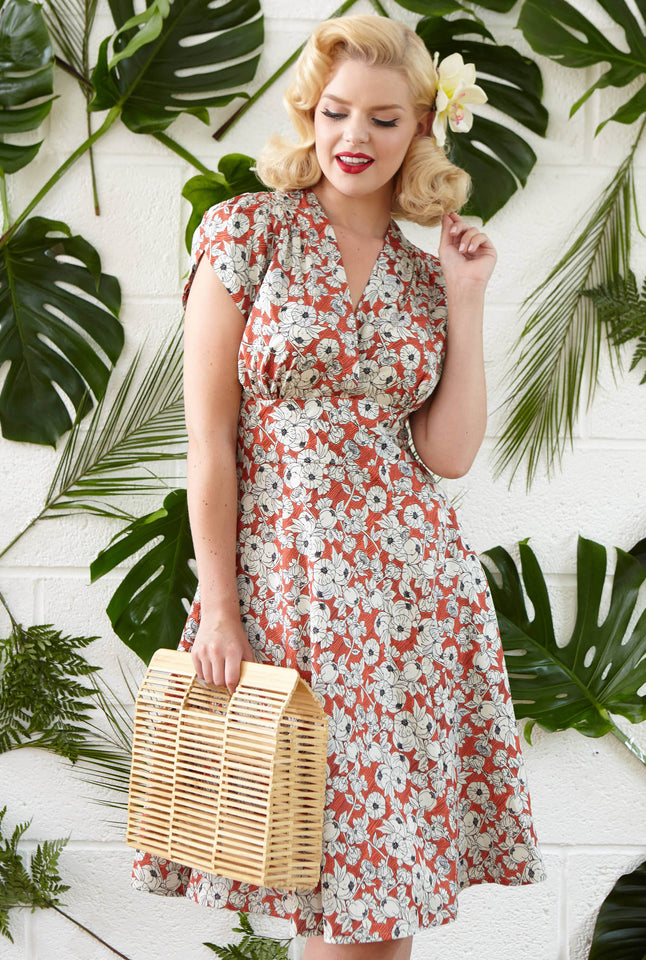 Rita - Red Pomegranate Print Vintage-style Retro Floral Dress