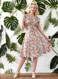 Rita - Red Pomegranate Print Vintage-style Floral Dress for Women