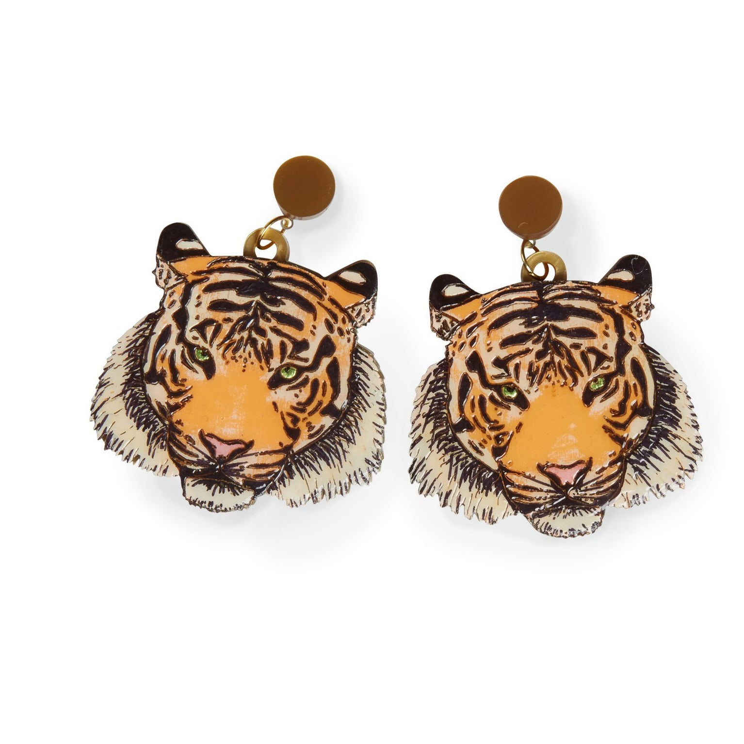 Tiger Laser-cut Acrylic Hand-painted British-made Retro Earrings