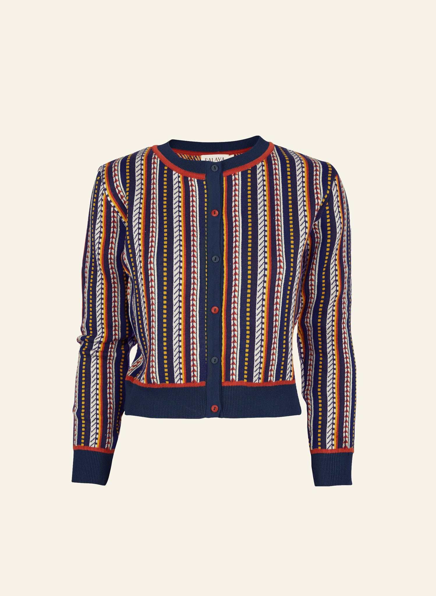 Vera - Navy Jacquard Feather Stripe Cardigan | Organic Cotton