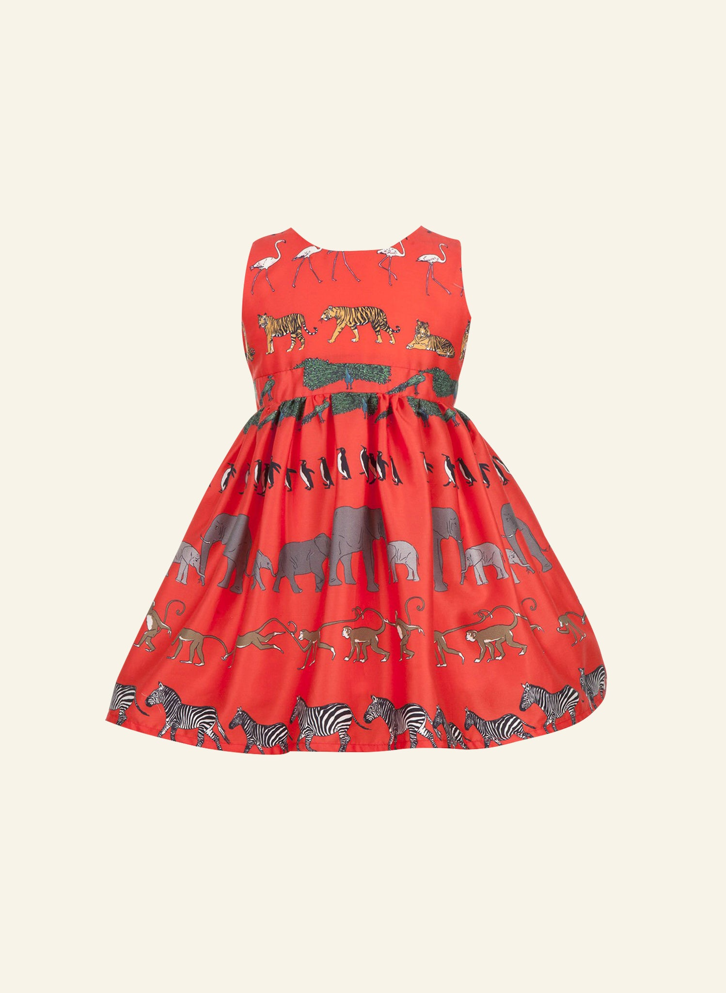 Martha - Red Walking Zoo Children's Dress | Organic Cotton