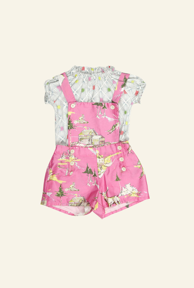 Dungaree Set - Pink Mountains