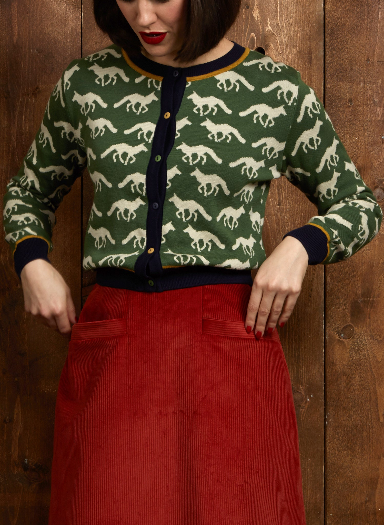 Vera - Green Fox Jacquard - Organic Cotton Cardigan