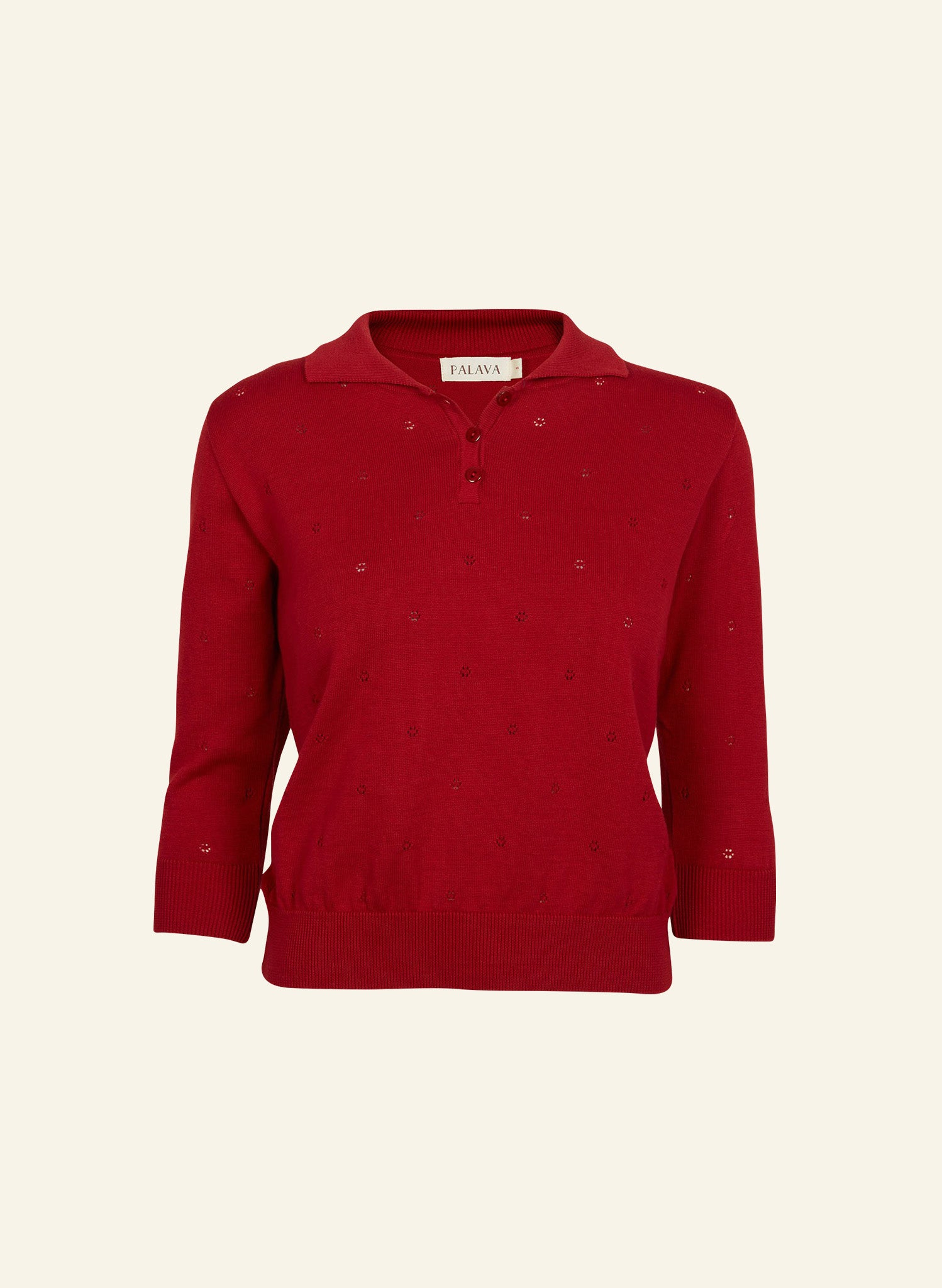 Aila - Crimson Red - Knitted Top