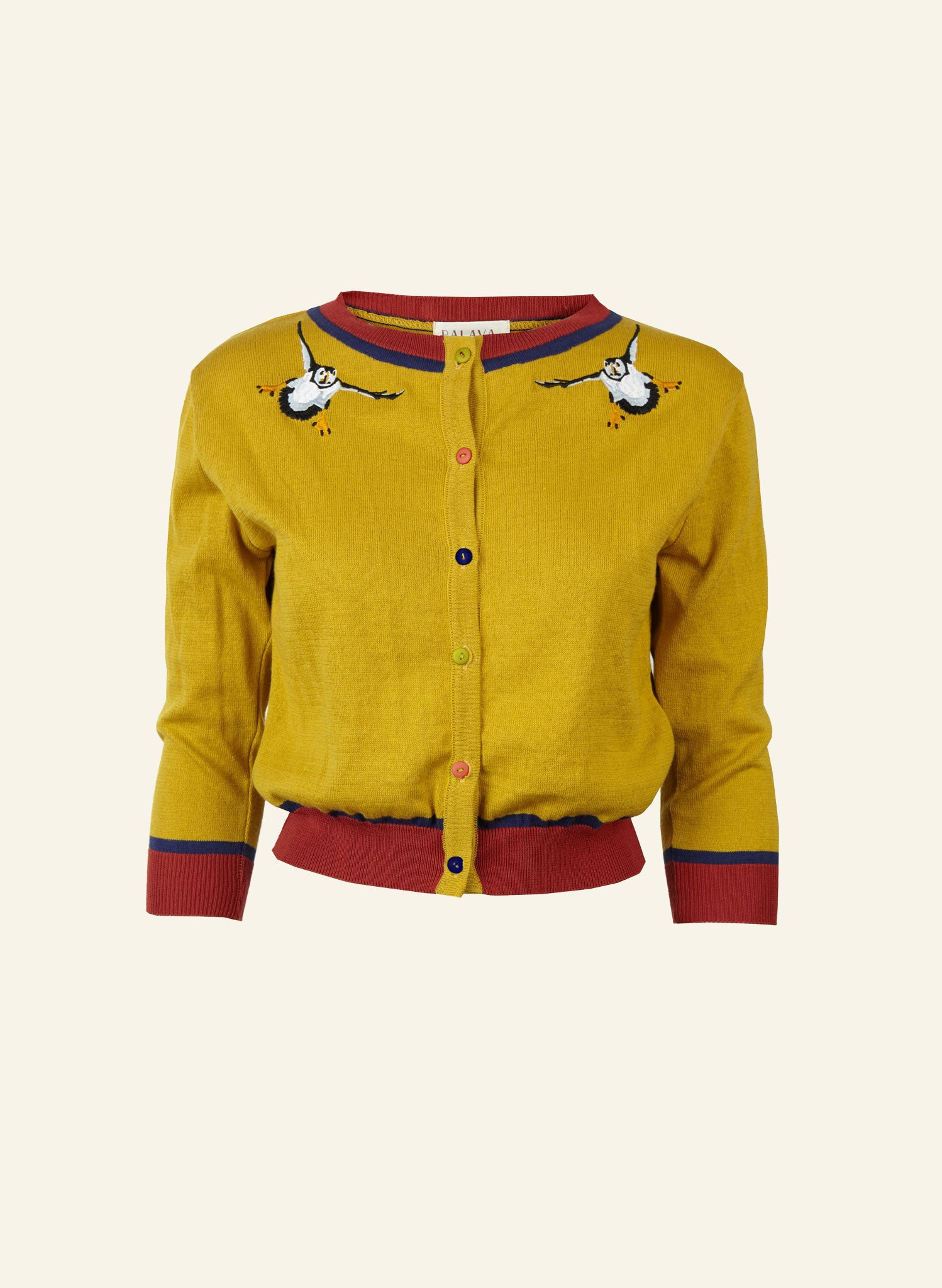 Vera - Mustard Puffin - Organic Cotton Cardigan