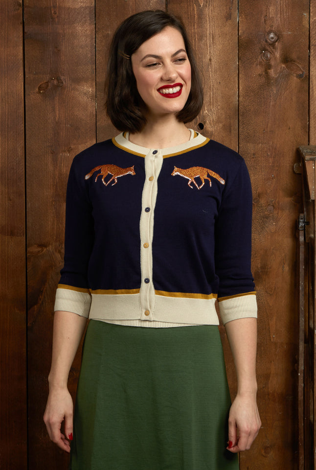 Organic Cotton Cardigan - Navy Fox