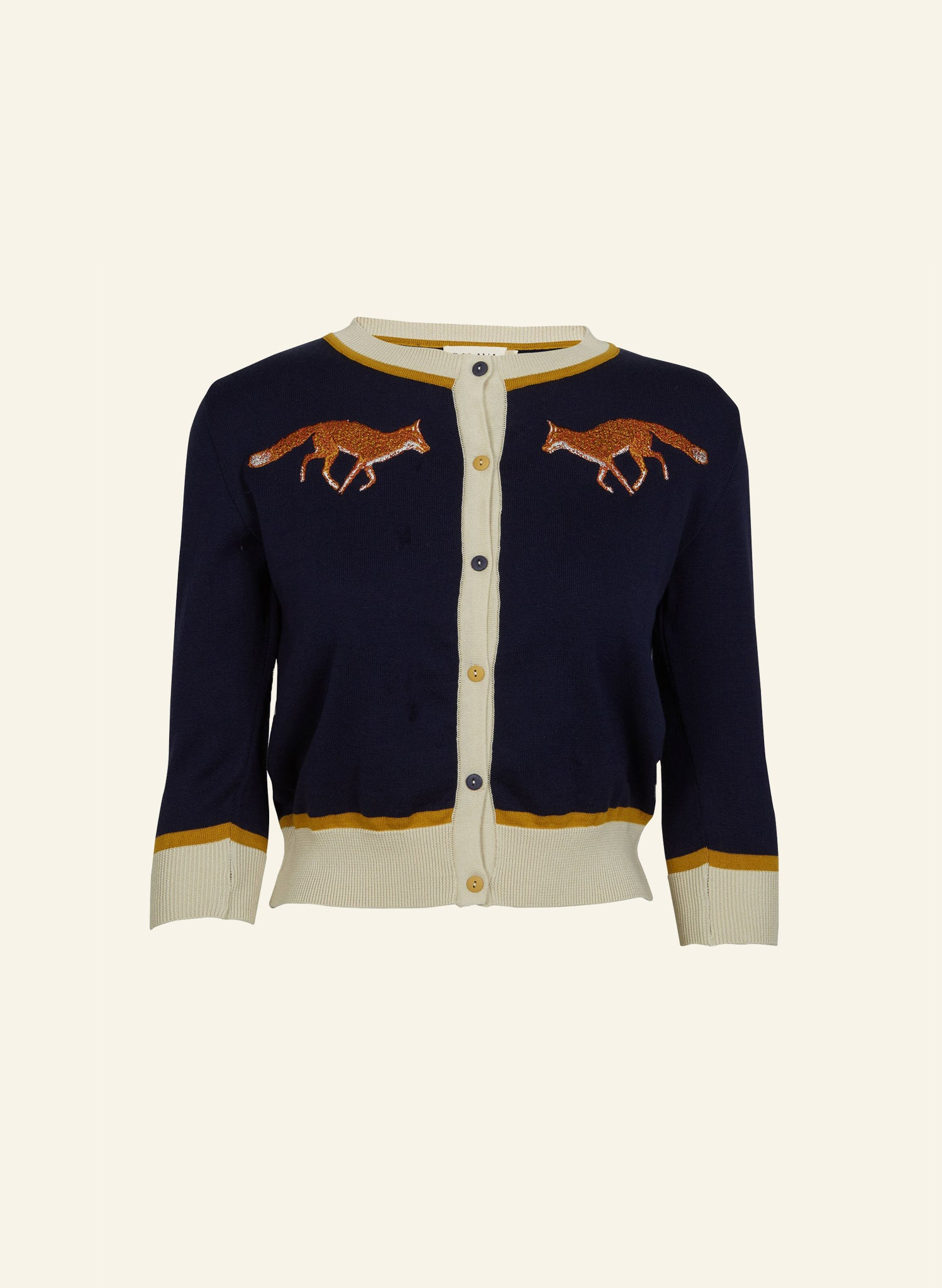Vera - Navy Fox - Organic Cotton Cardigan