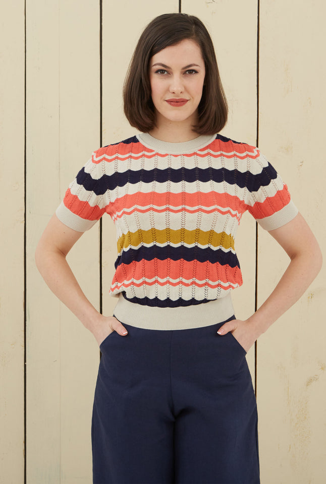Eve Zigzag Knitted Top - Navy and Coral | Organic Cotton