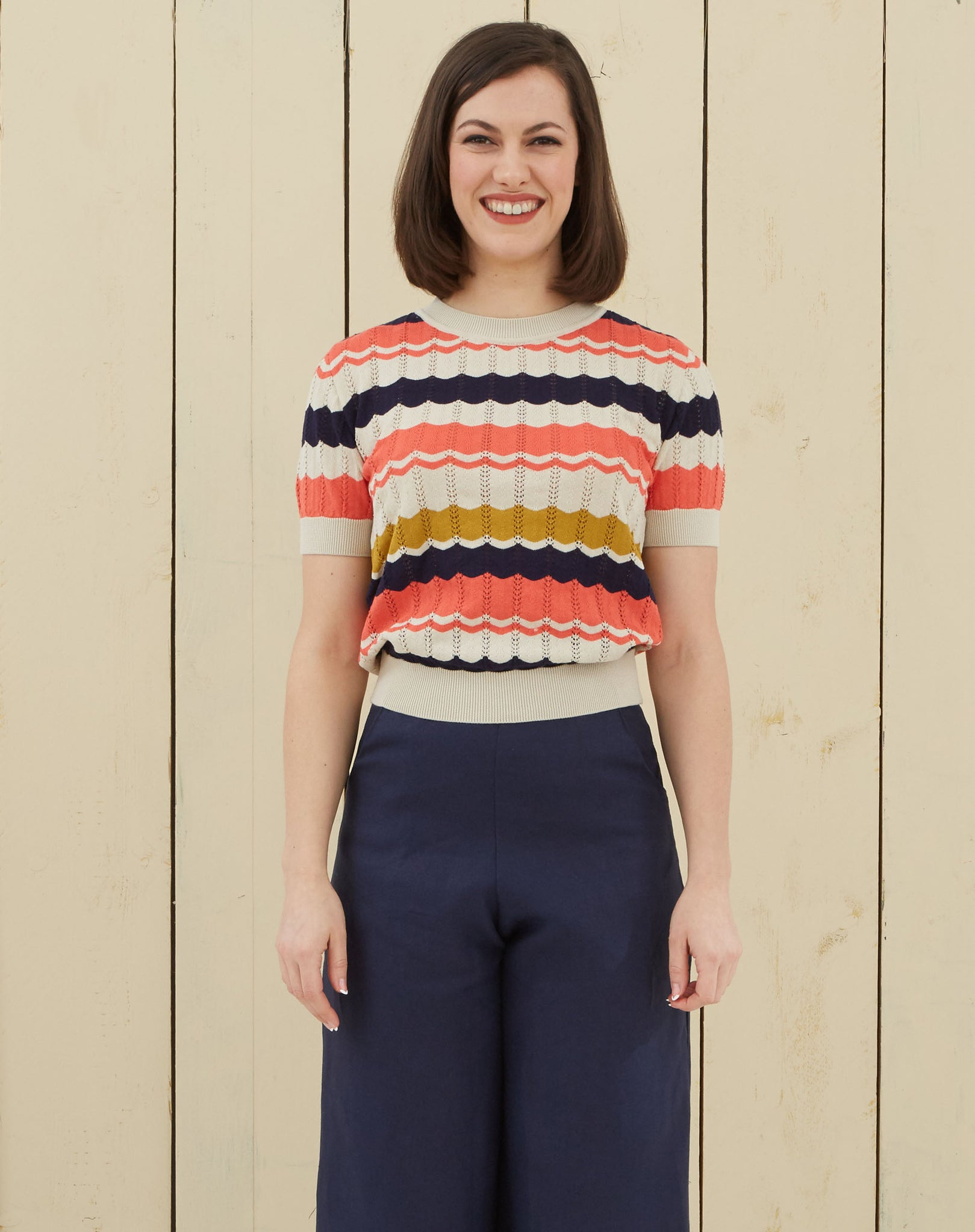 Durrells inspired knitwear Top | Navy, Coral, Mustard, Organic Cotton