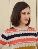 Short Sleeve Knitted Top | Navy, Coral, Mustard, Organic Cotton