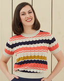 Knitted Vintage-style Summer Top | Navy, Coral, Mustard, Organic Cotton
