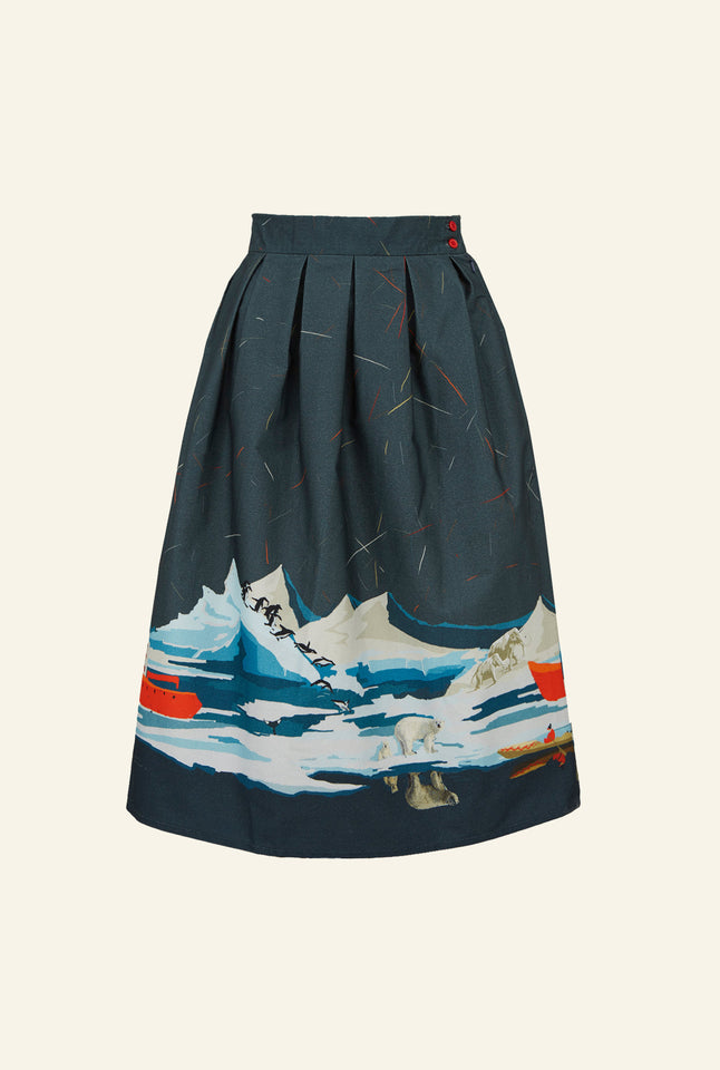 Ada - Steel Blue Arctic Explorer Skirt | 100% Organic Cotton
