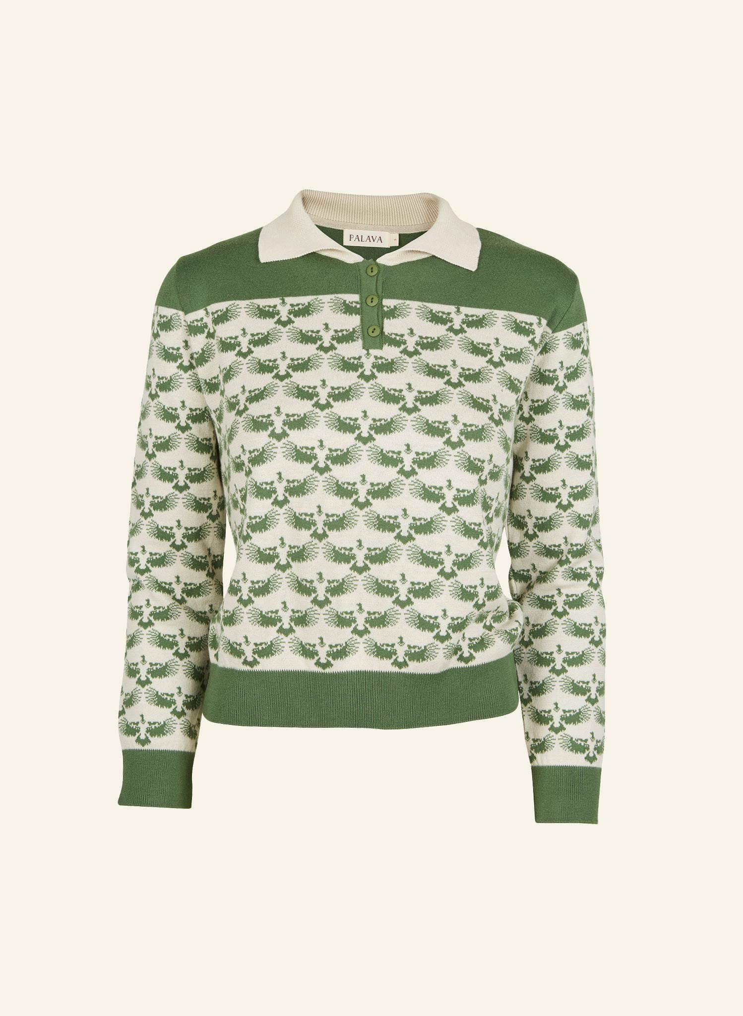 Aila - Green Jacquard Eagle - Knitted Top