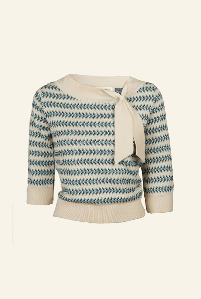Palava Amelie Knitted top in Blue Feather Stripe - Organic Cotton