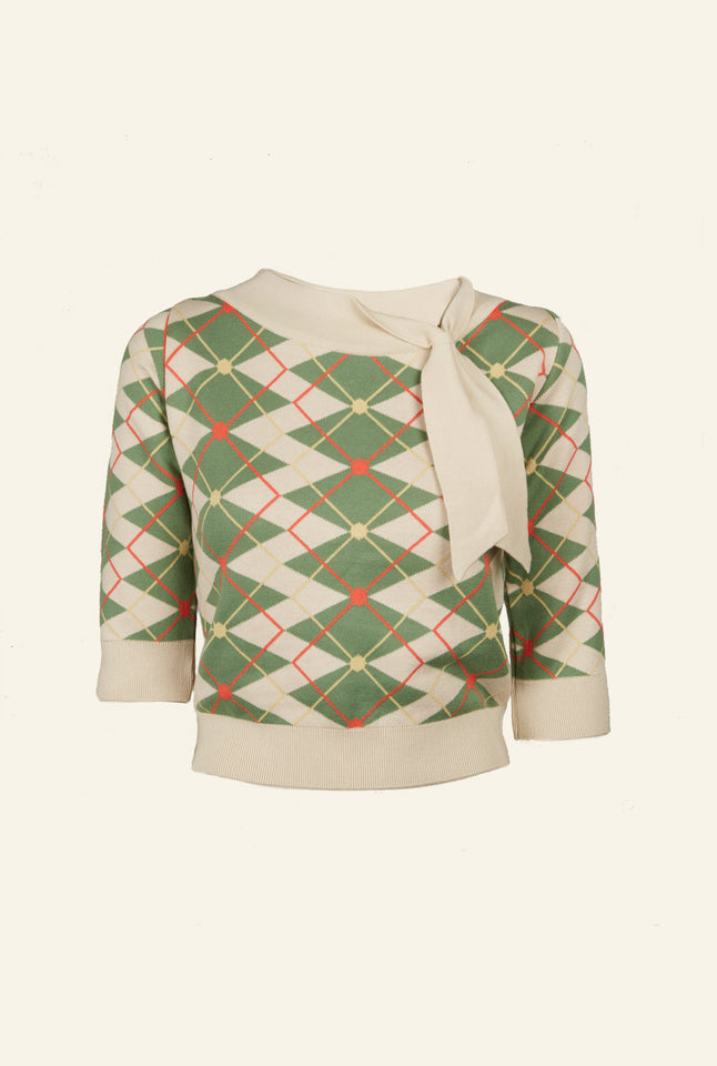 Palava Amelie Knitted top in Green / Cream Argyle - Organic Cotton