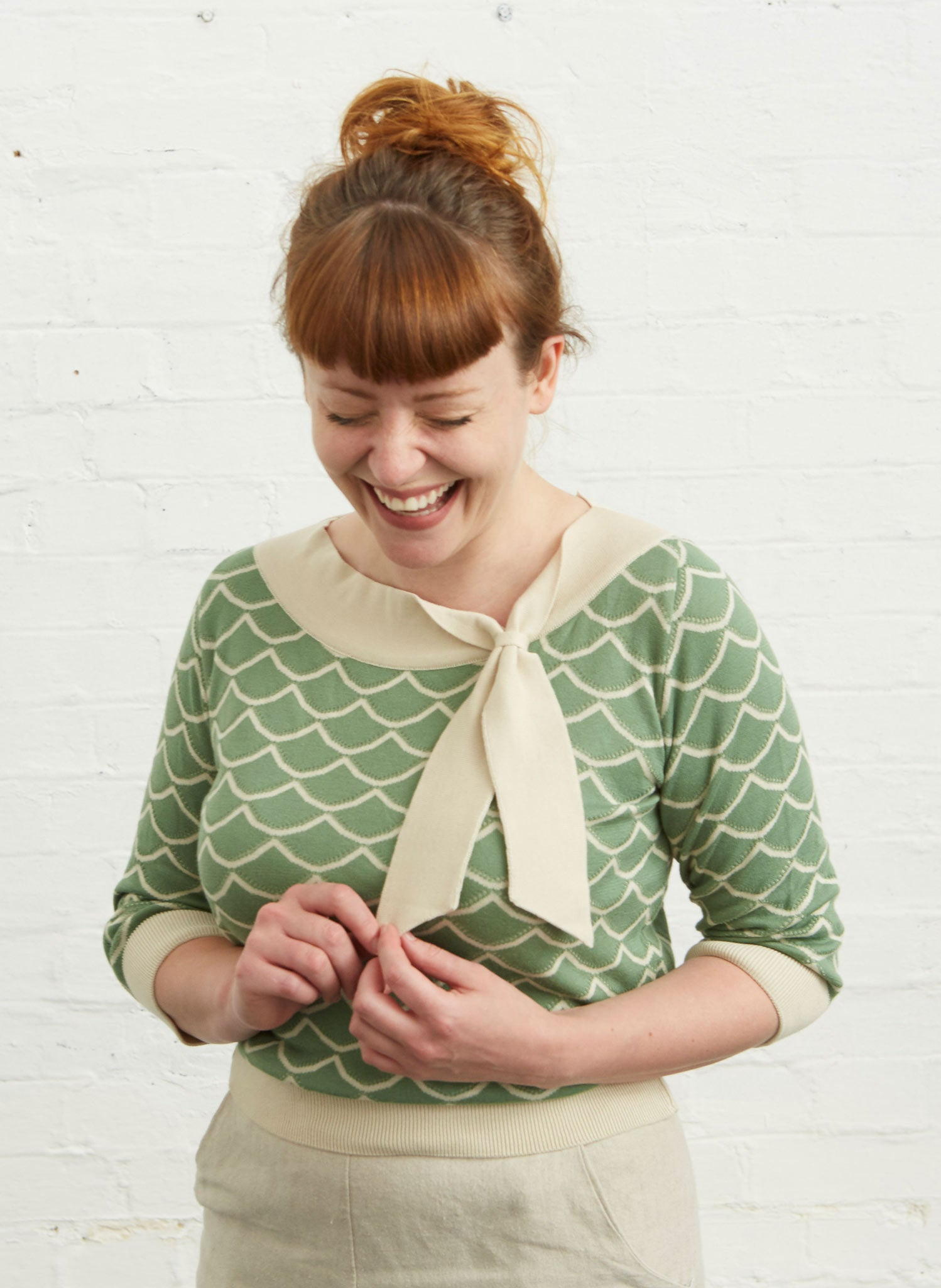 Palava Amelie Green Shell Knitted Top - Organic Cotton
