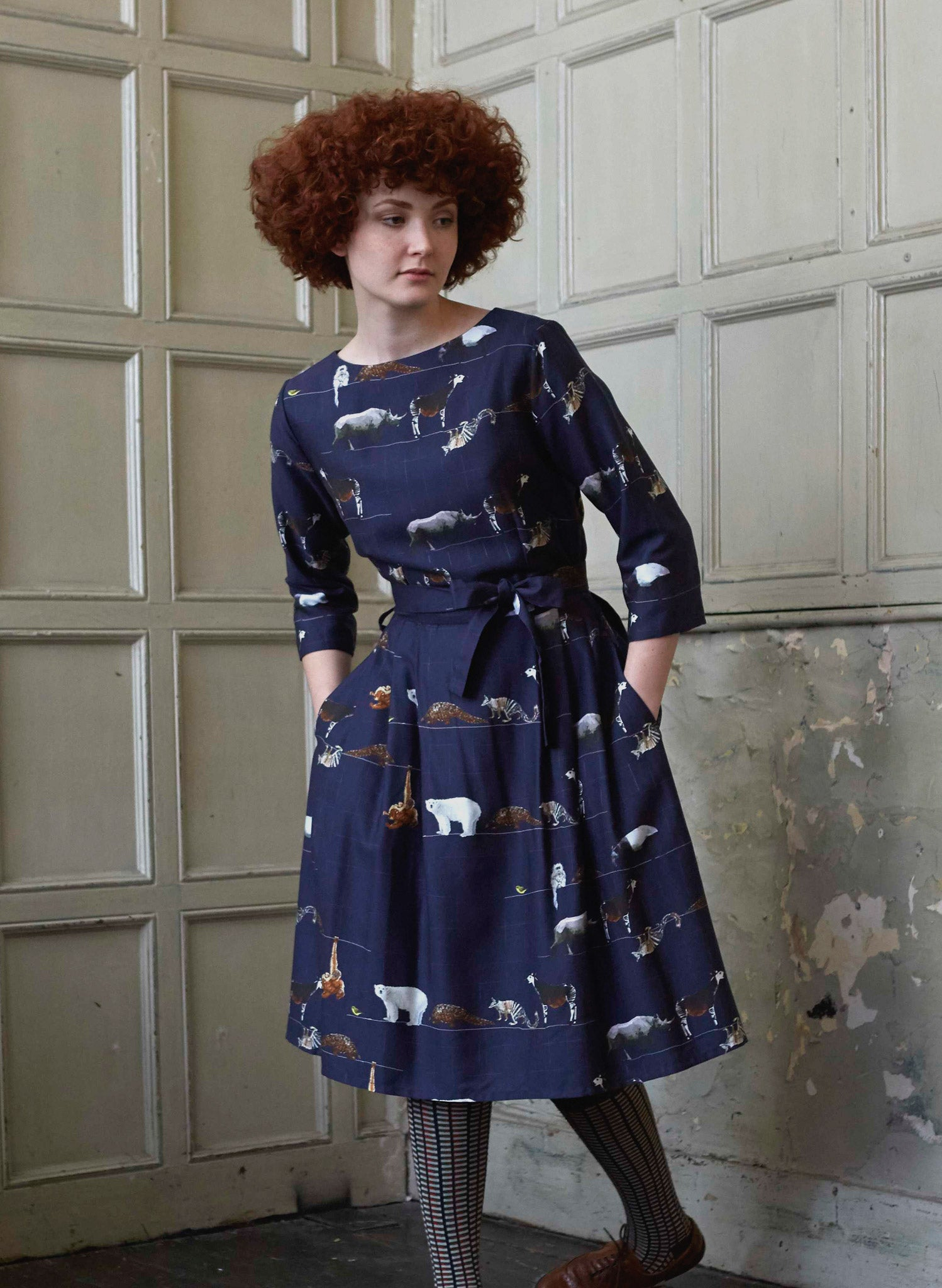 Beatrice Long Sleeve - Navy Endangered Animals Dress - Tencel