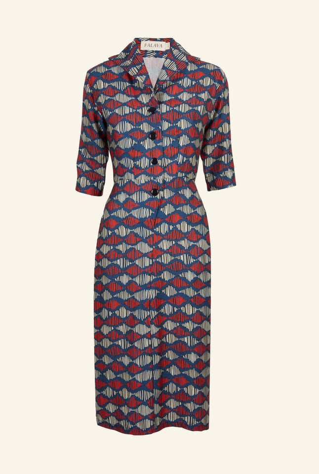 Betsy - Blue Soundwaves Dress