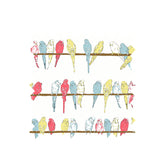 Ivory Budgies Fabric - Organic Cotton Twill