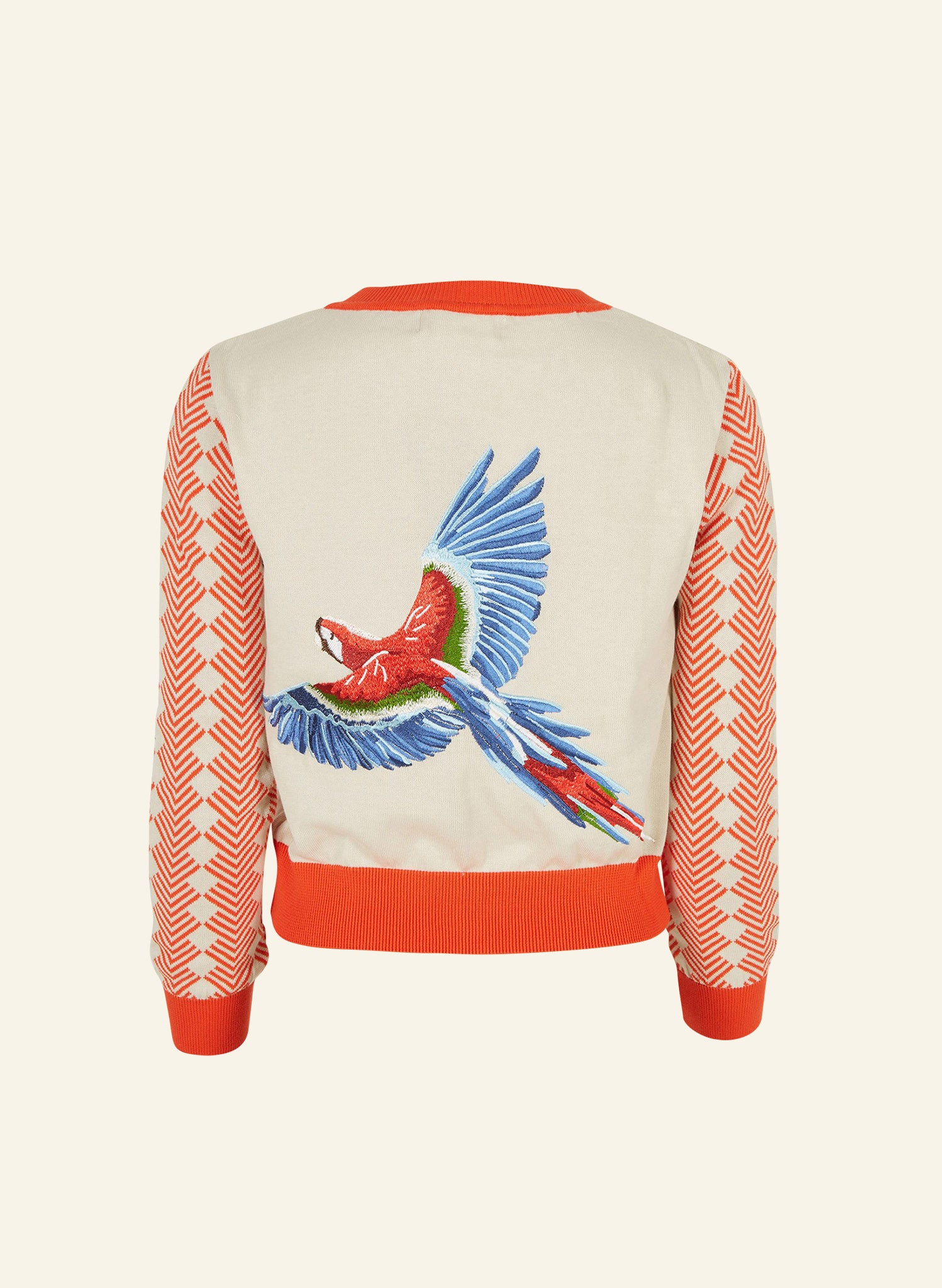 Vera - Cream Large Parrot Embroidery - Organic Cotton Cardigan
