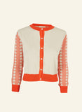 Parrot Embroidered Retro Cool Cardigan | Coral, Organic Cotton