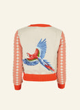 Women's Parrot Embroidered Retro Cardigan | Coral, Organic Cotton