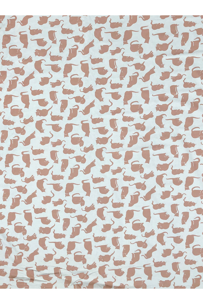 Ecru small Cat Print Fabric
