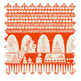 Palava hand illustrated chocolate shop print in orange winter weight cotton sateen