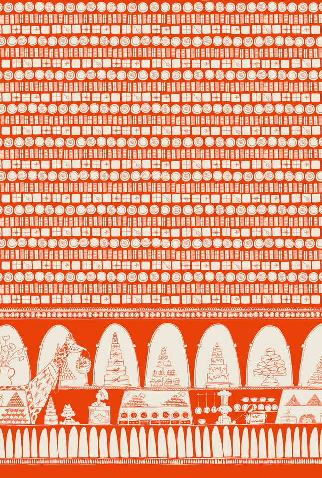 Orange Chocolate Shop Fabric - Palava