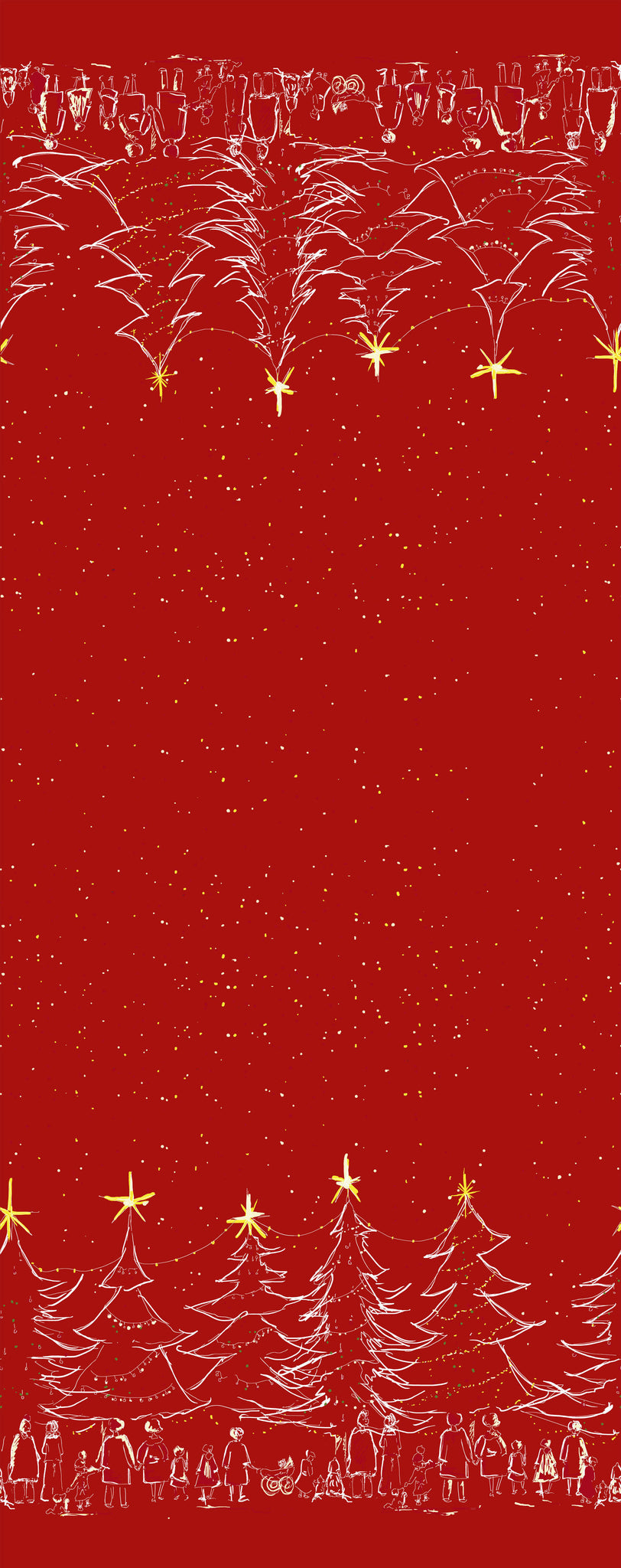 Red Christmas Fabric - Organic Cotton Twill