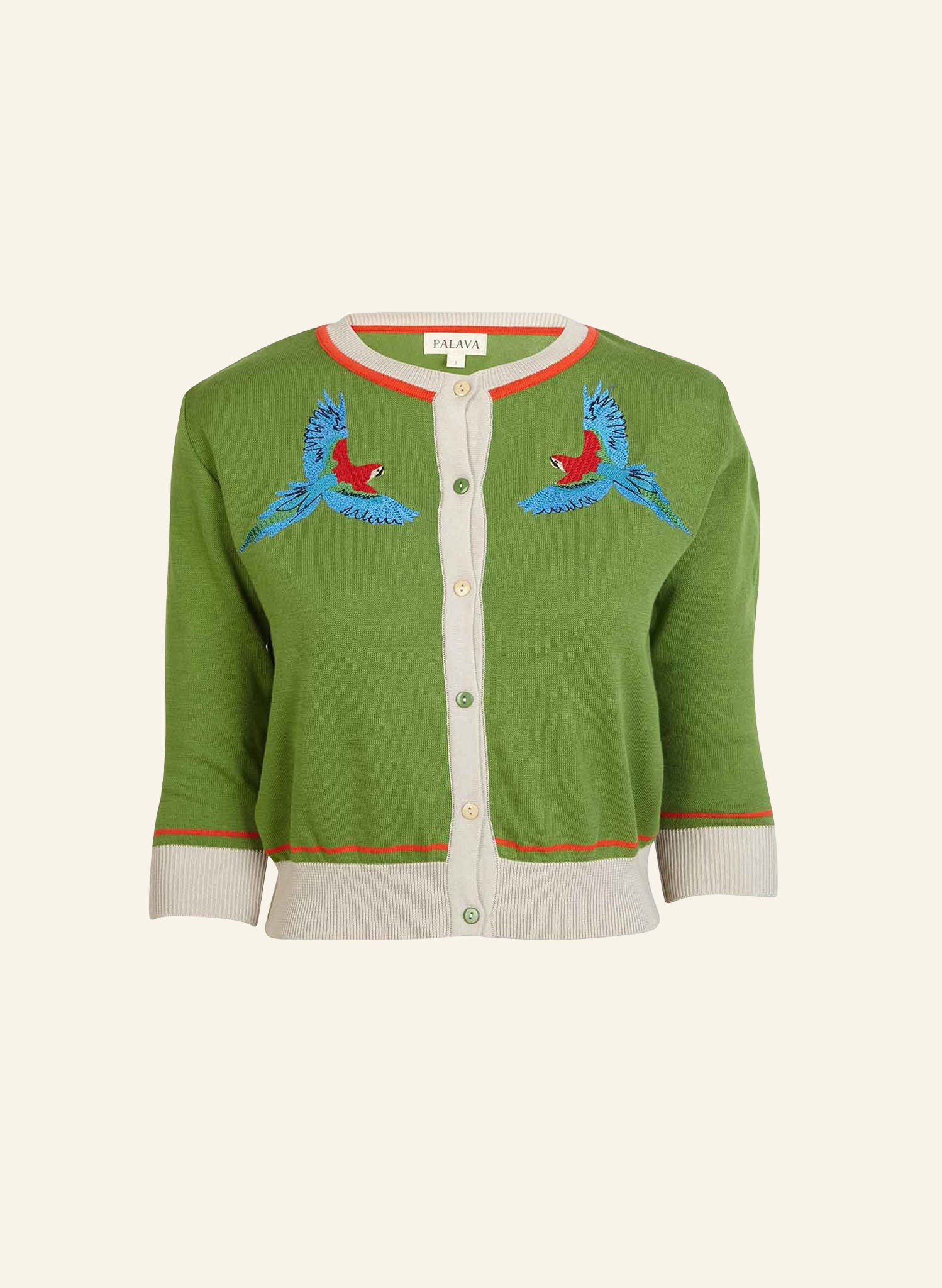 First Edition - Vera - Green Parrots - Organic Cotton Cardigan