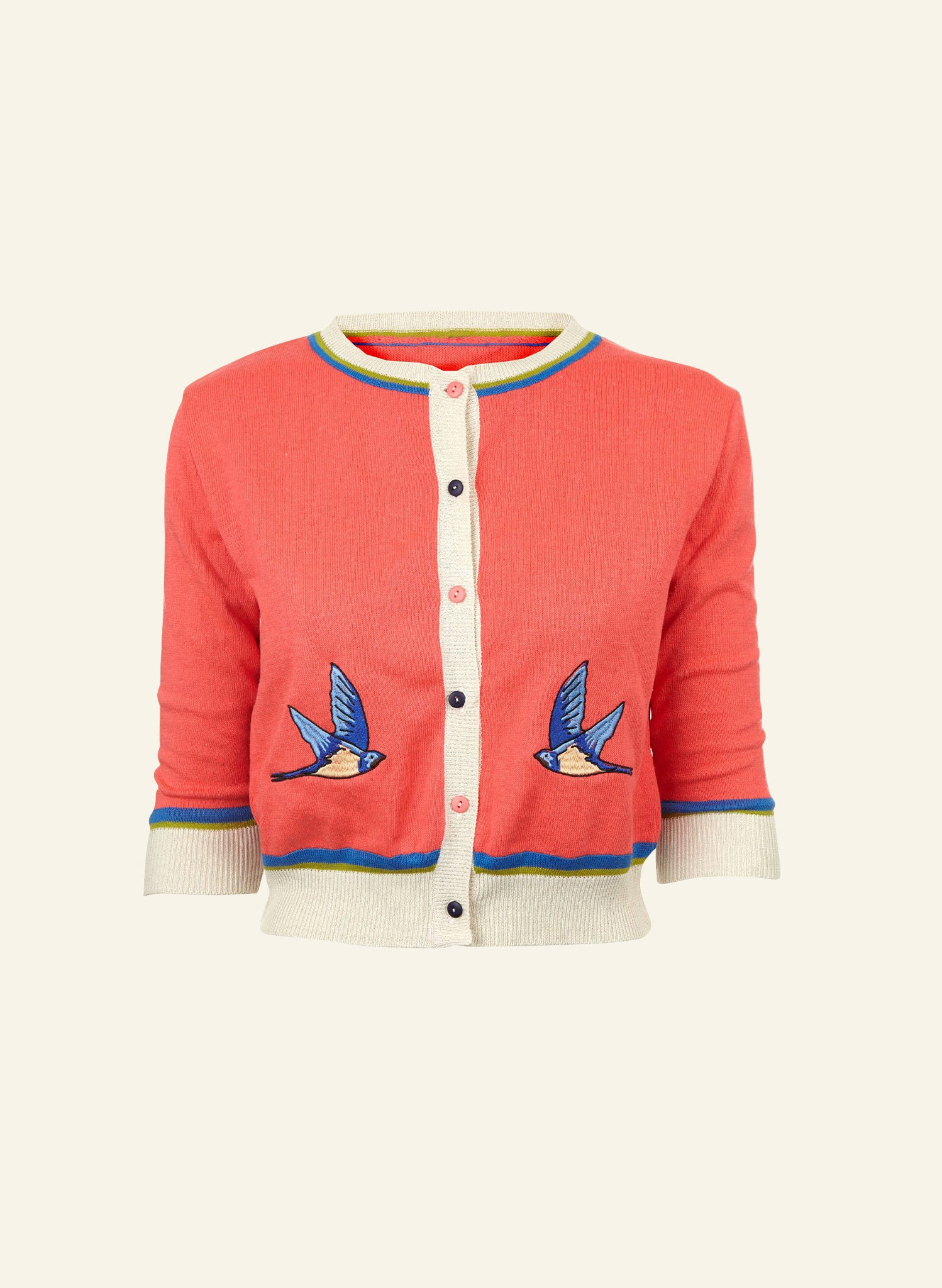 Vera - Hot Coral Swallows - Organic Cotton Cardigan