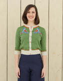 Women's Green Parrots Embroidered Retro Cardigan | Organic Cotton