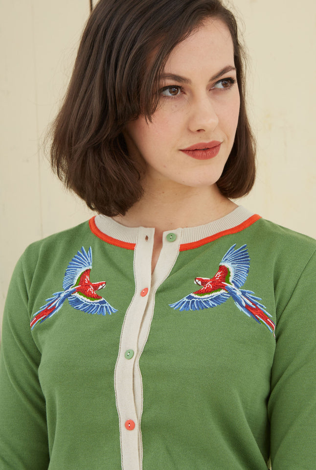 Green Parrots Embroidered Vintage-style Cardigan | Organic Cotton